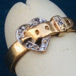 Victorian 10k Gold Sweetheart Buckle Diamond Ring
